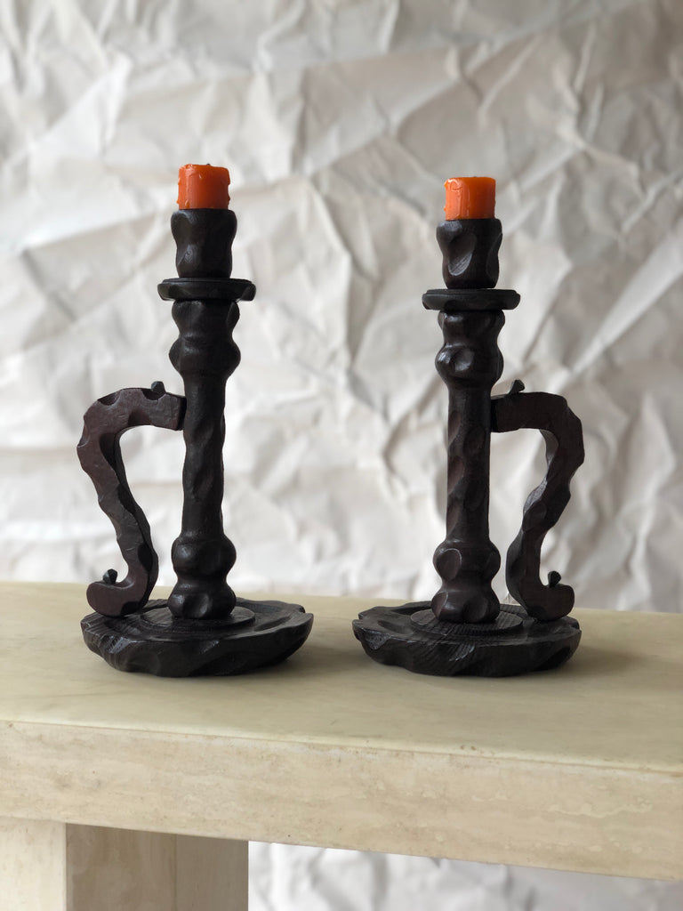 Spanish handcarved candlesticks