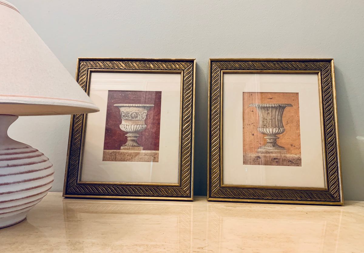 Framed Urn Prints - Pair