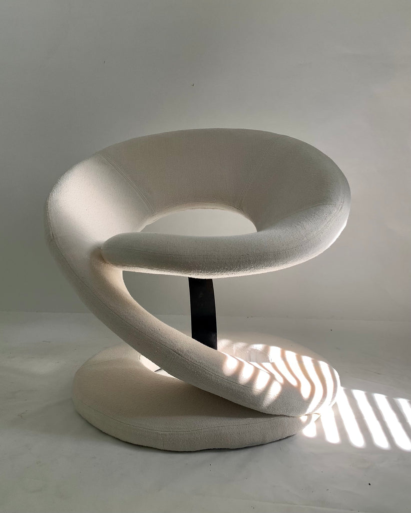 Jaymar Ribbon Chair in New Ivory White Wool Boucle