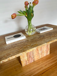 Unfilled Red Travertine Coffee Table