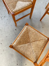 Set of Five Wooden Woven Rush Chairs