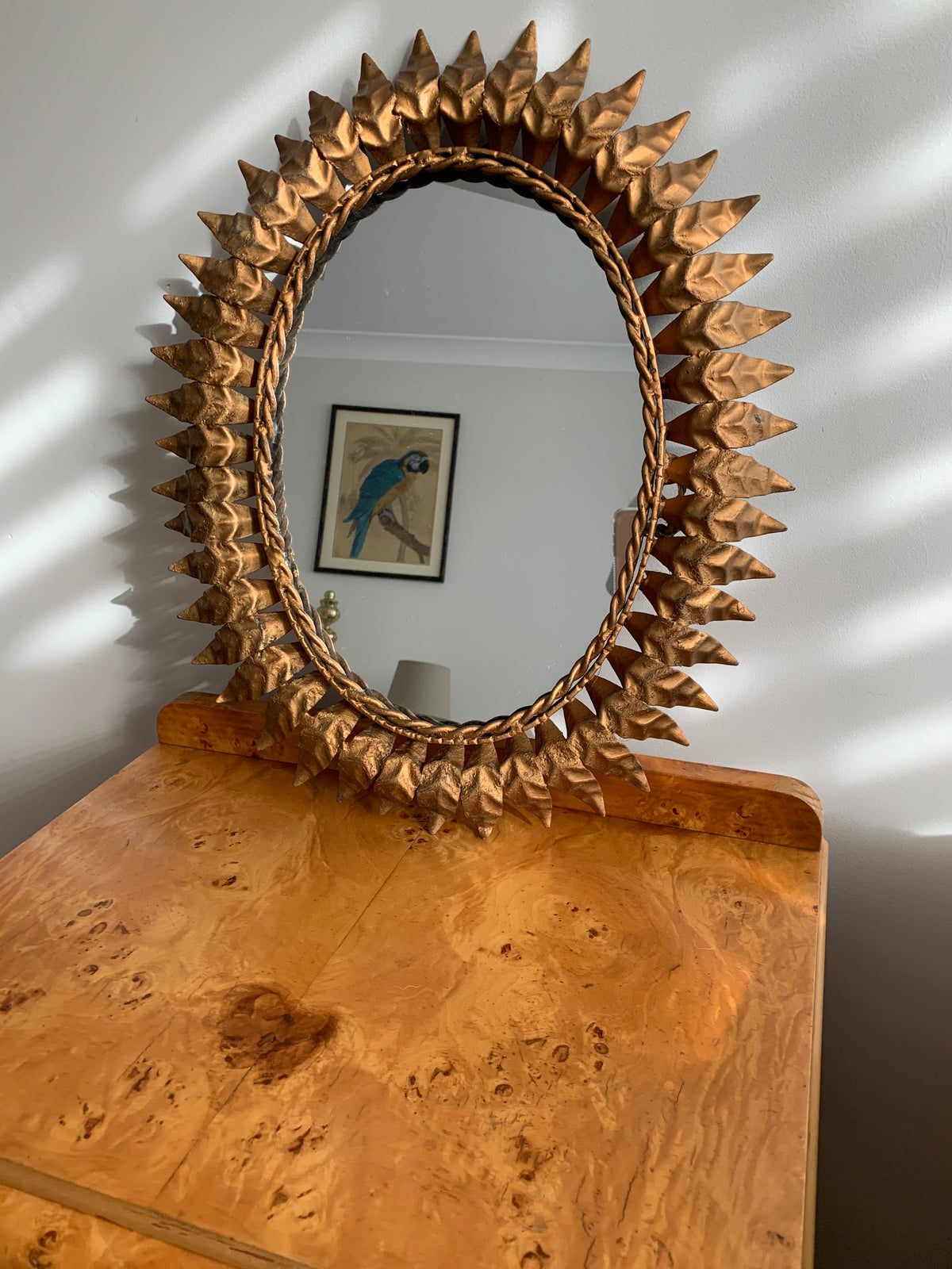 Original Antique 1920s Gilded Starburst Mirror