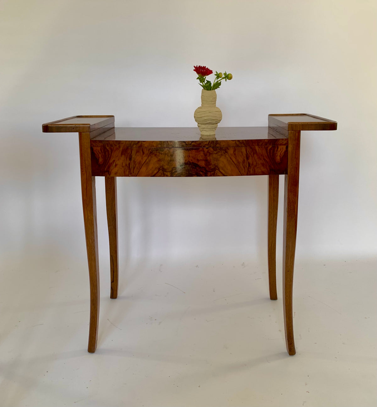Mid Century Winged Burl Console Table, UK
