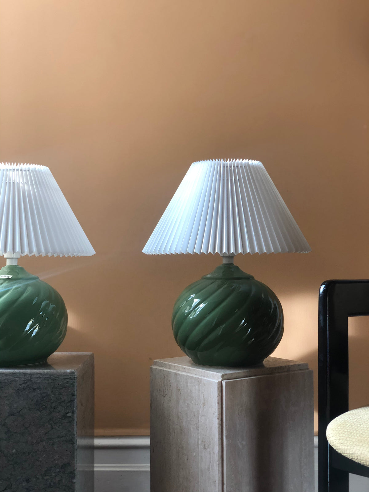Green swirl Italian lamps with white pleated shade