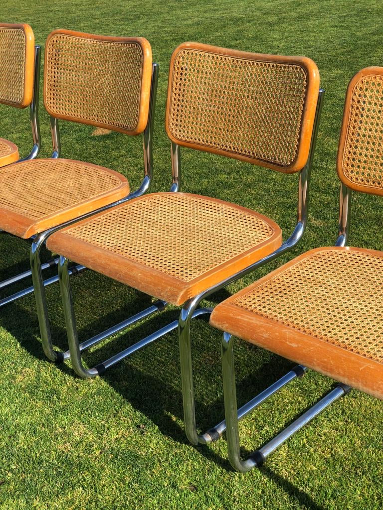 Cane and Chrome Cantilever Chairs