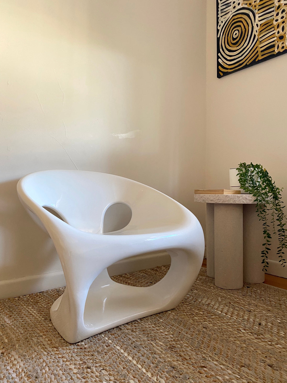 White Fibreglass Sculptural Chair