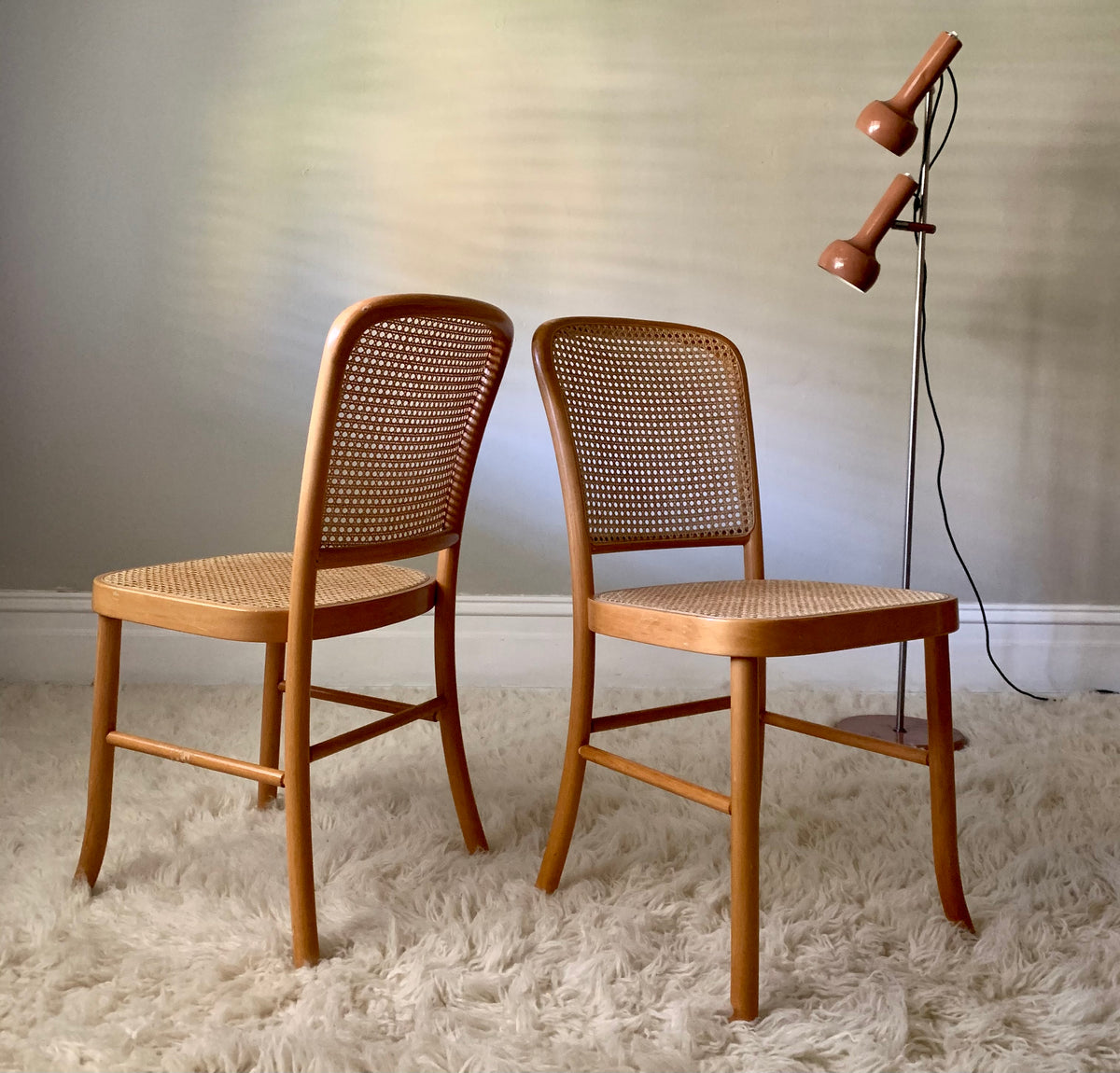 Pair of Bentwood Josef Hoffmann-Style Dining Chairs (Set)