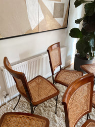 French Rattan and Iron Dining Chairs by Grange Furniture, France