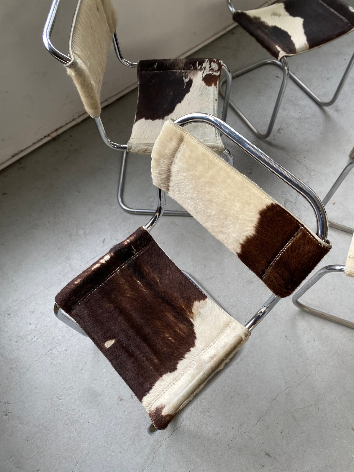 Cow Hide Cantilever Chair - Six Available, Price is Per Chair
