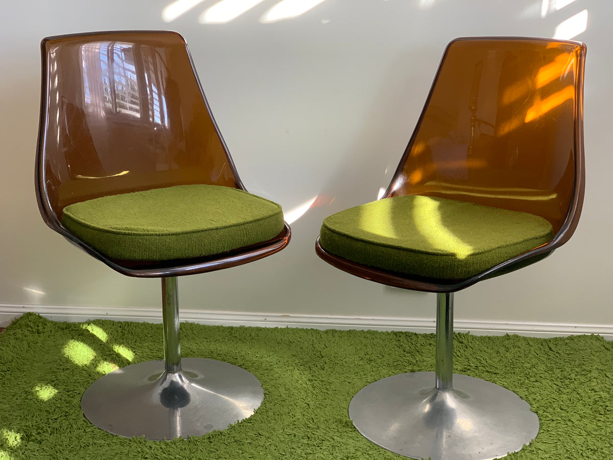 Amber Perspex Chairs with Cushions
