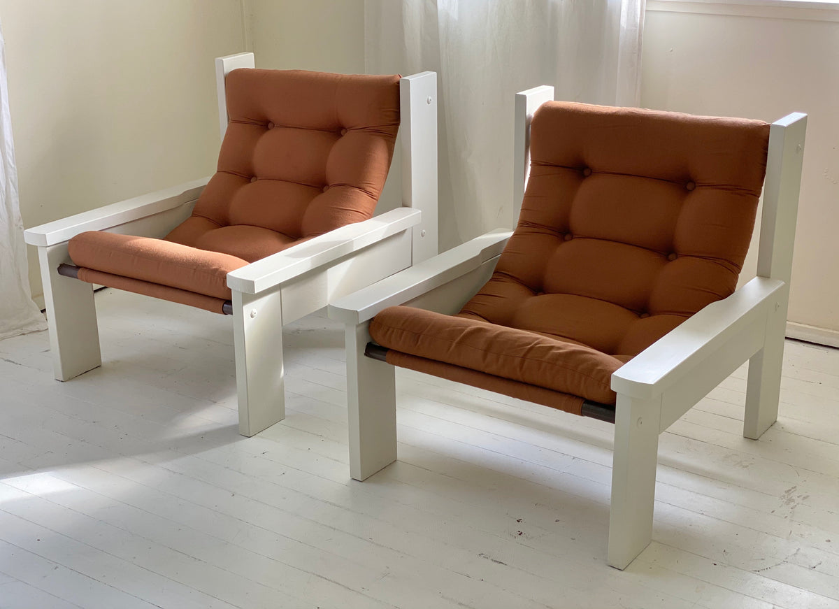 Mid Century Sling Lounge Chairs