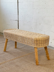 Rattan and Wooden Bench