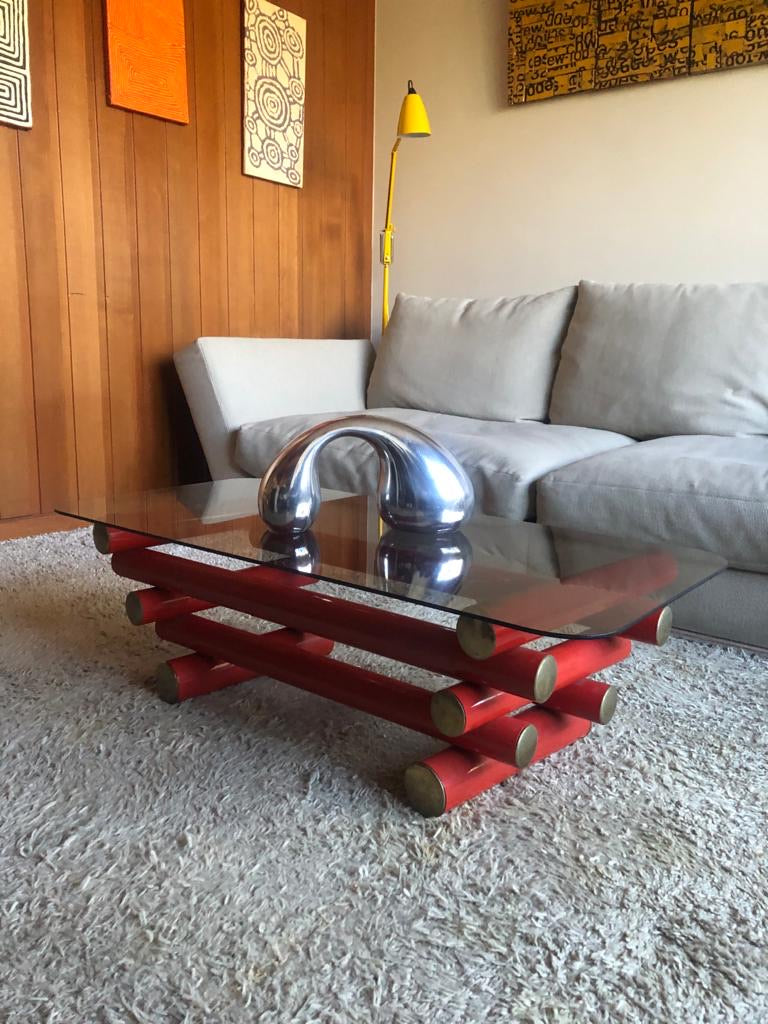 70s Red Tube Master Style Coffee Table