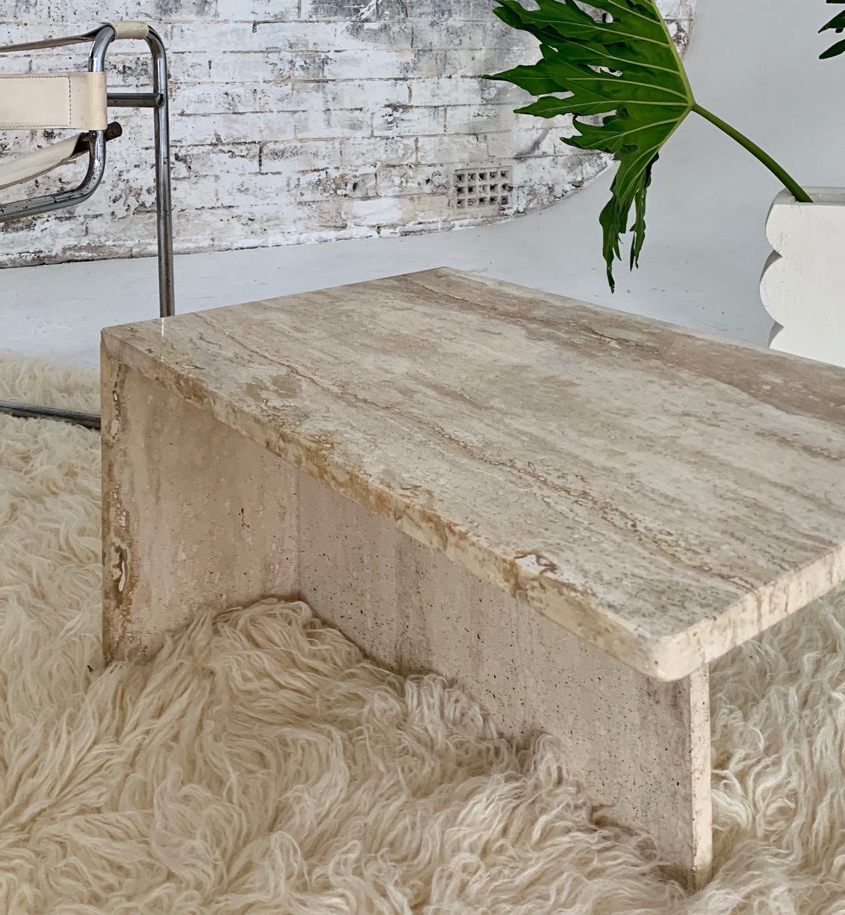 Travertine Side Table