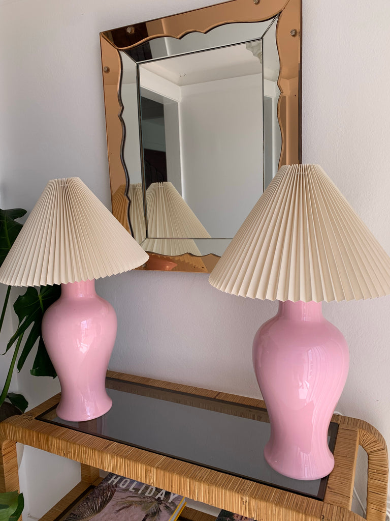 Vintage Pink Ceramic Lamps With Pleated Shade