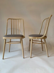 Set of 6 Cream Bentwood Dining Chairs