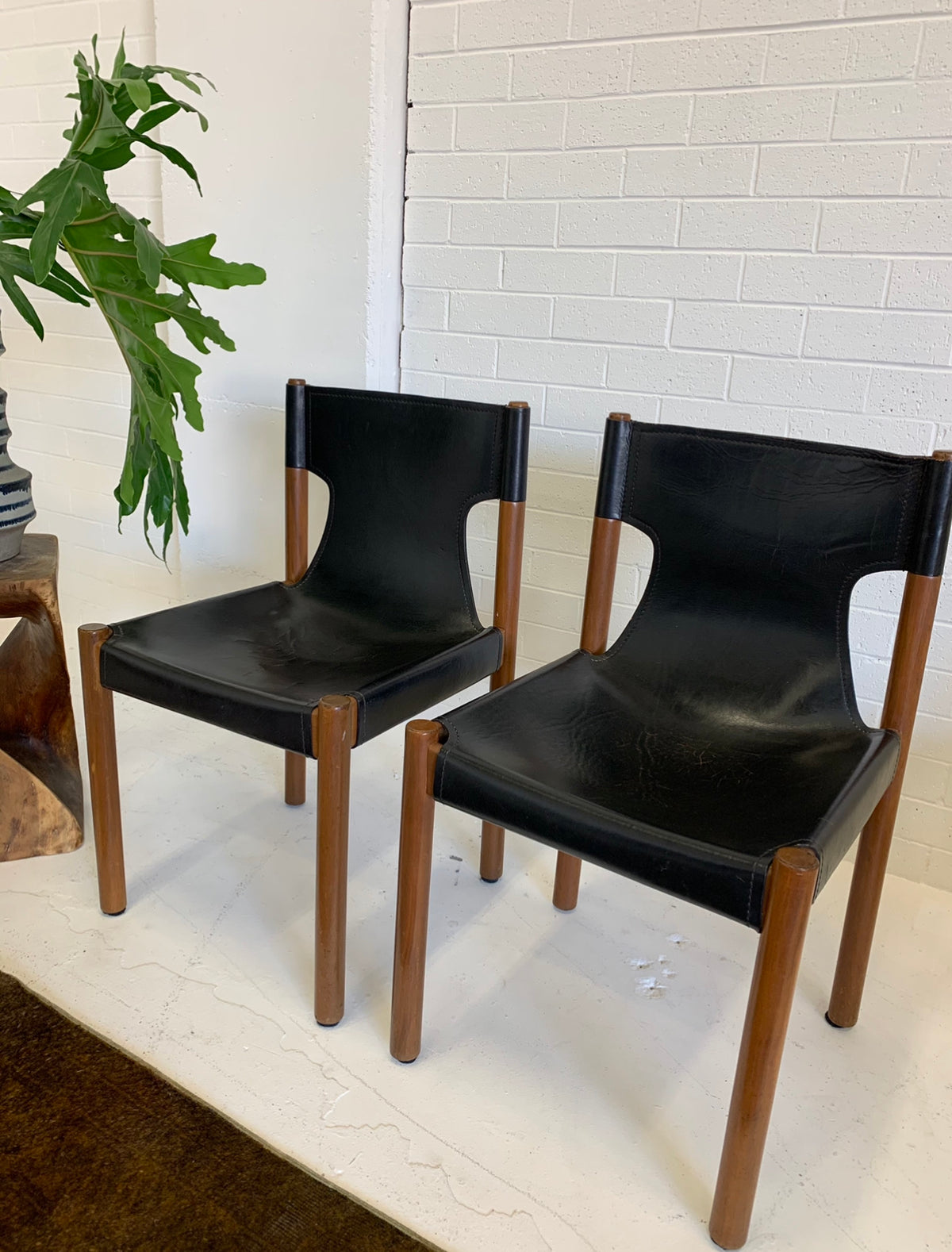 Fred Lowen Vintage Leather Slingback Dining Chairs for Fler
