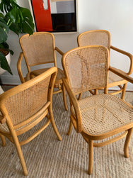 Vintage Rattan Bentwood Dining Chairs
