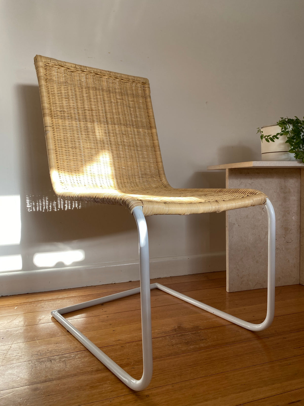 White Cantilever Rattan Chair