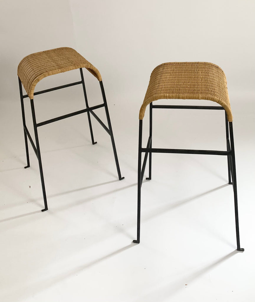 Two Curved Cane & Iron Bar Stools (Set)