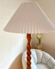 Barley Twist Wooden Floor Lamp - Pleated Shade