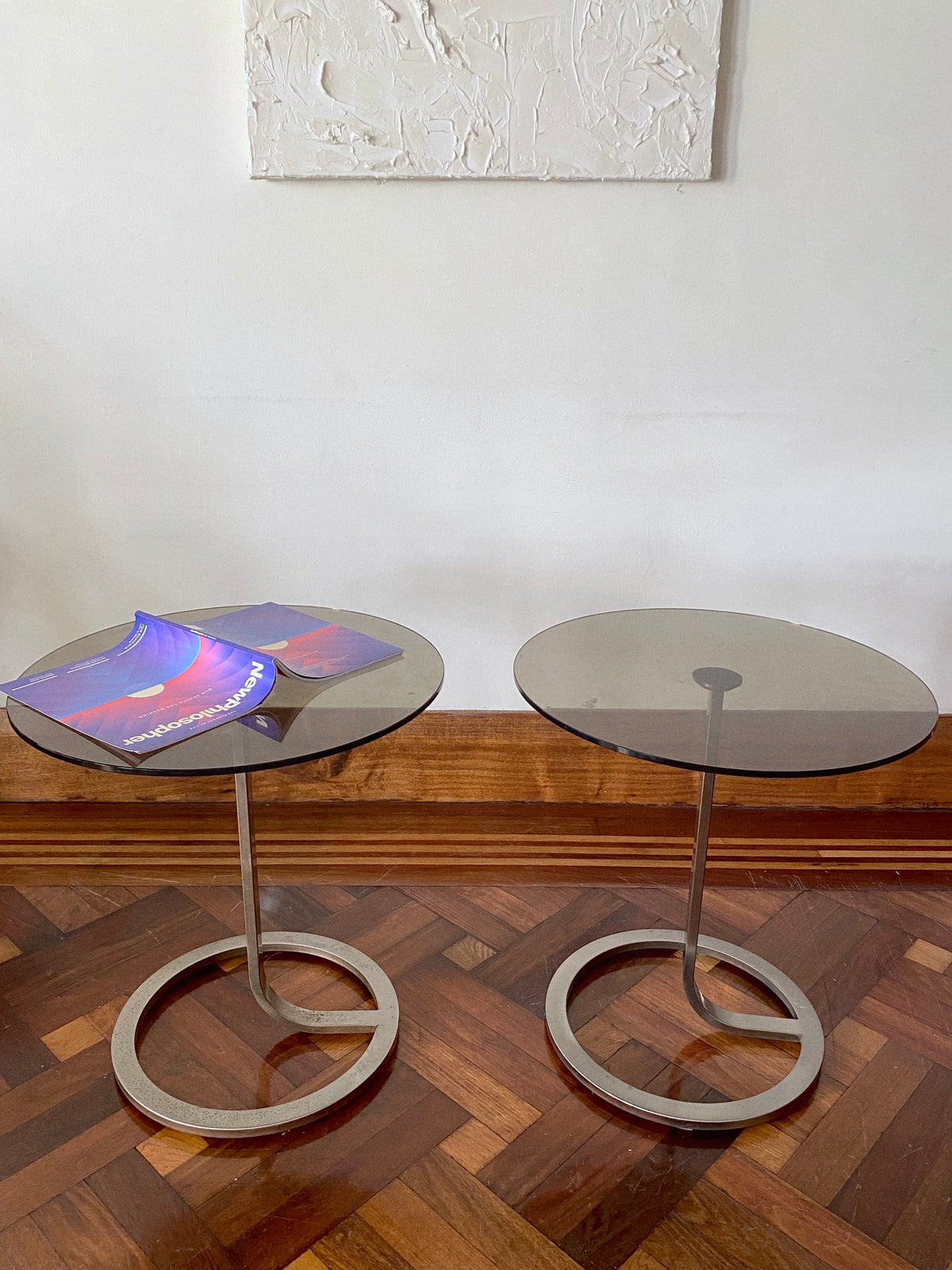 Modernist Smoked Glass and Steel Side Tables
