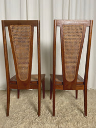 Mid-century Wood and Rattan Chairs