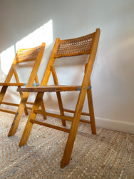 Wooden Cane Folding Chairs