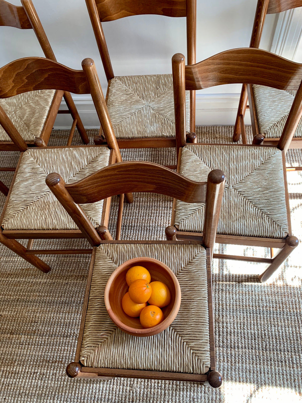 Set of 6 Rush Dining Chairs