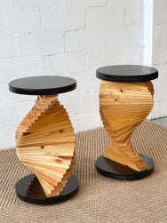 Spiral Wooden Side Table