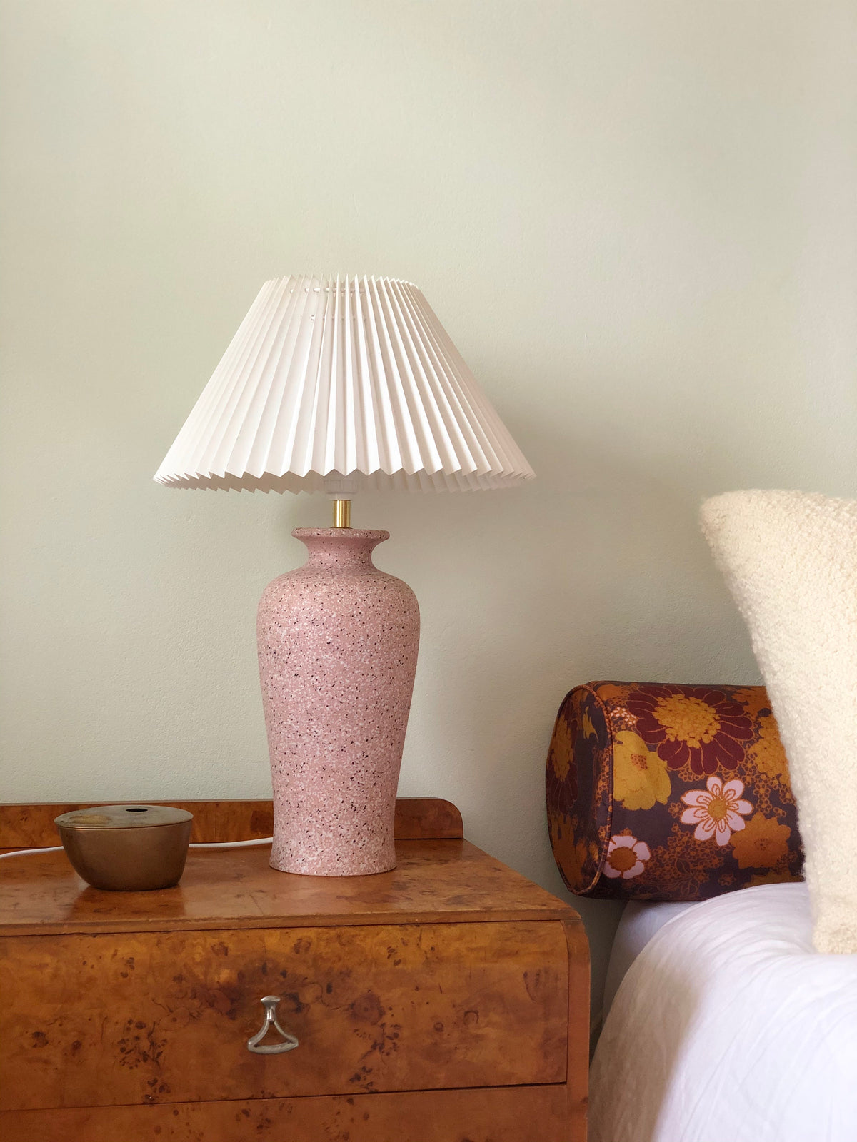 Pink speckle lamp with pleated shade