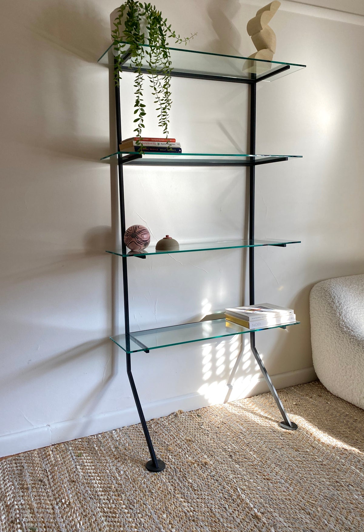 Mid Century Glass Wall Shelving Unit