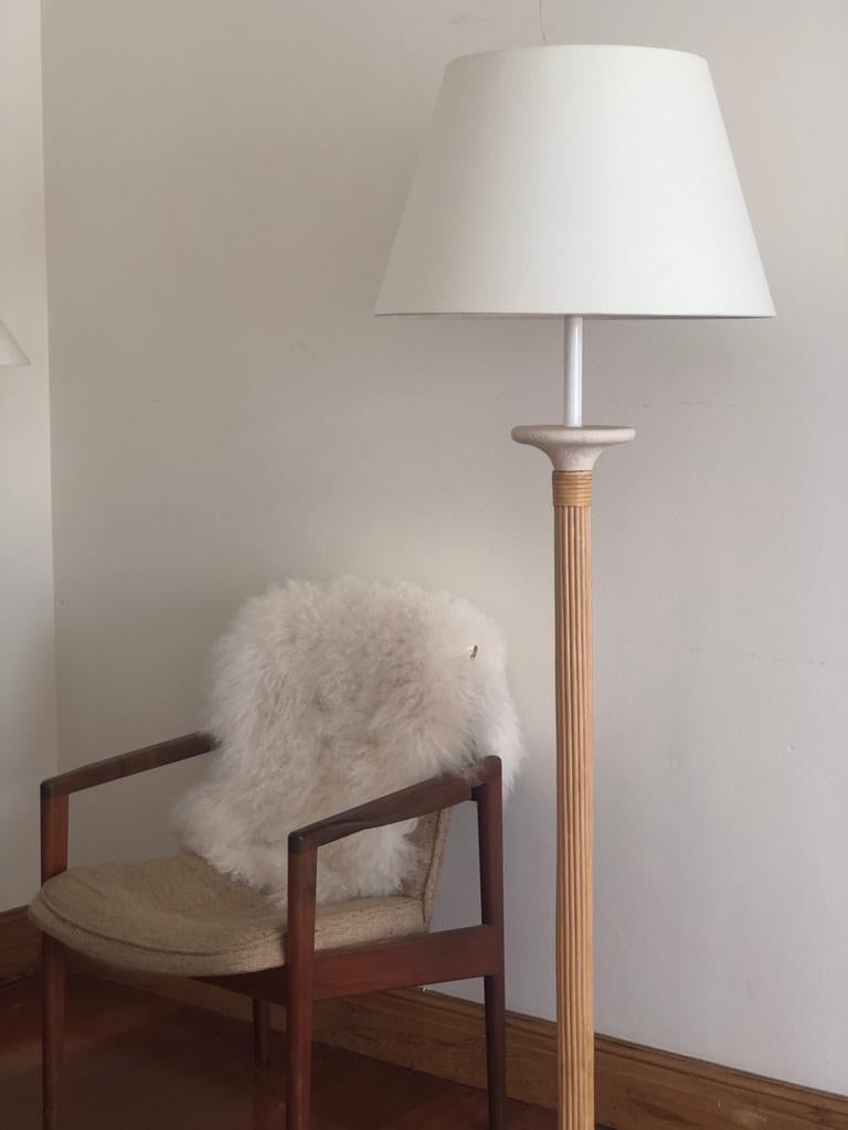 Stone and Cane Floor Lamp