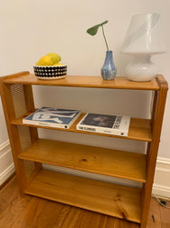 Vintage Pine and Rattan Book Shelves