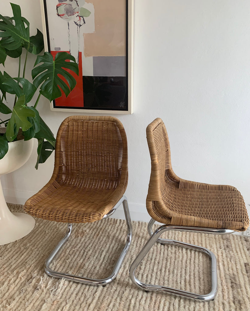 Rare Rattan And Chrome Tubular Dining Chairs by Rohe Noordwolde