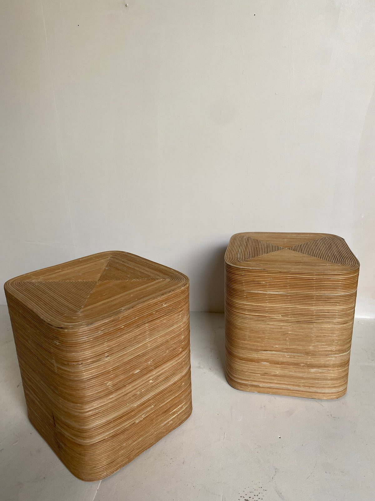 Pair of Rattan Bedside Tables