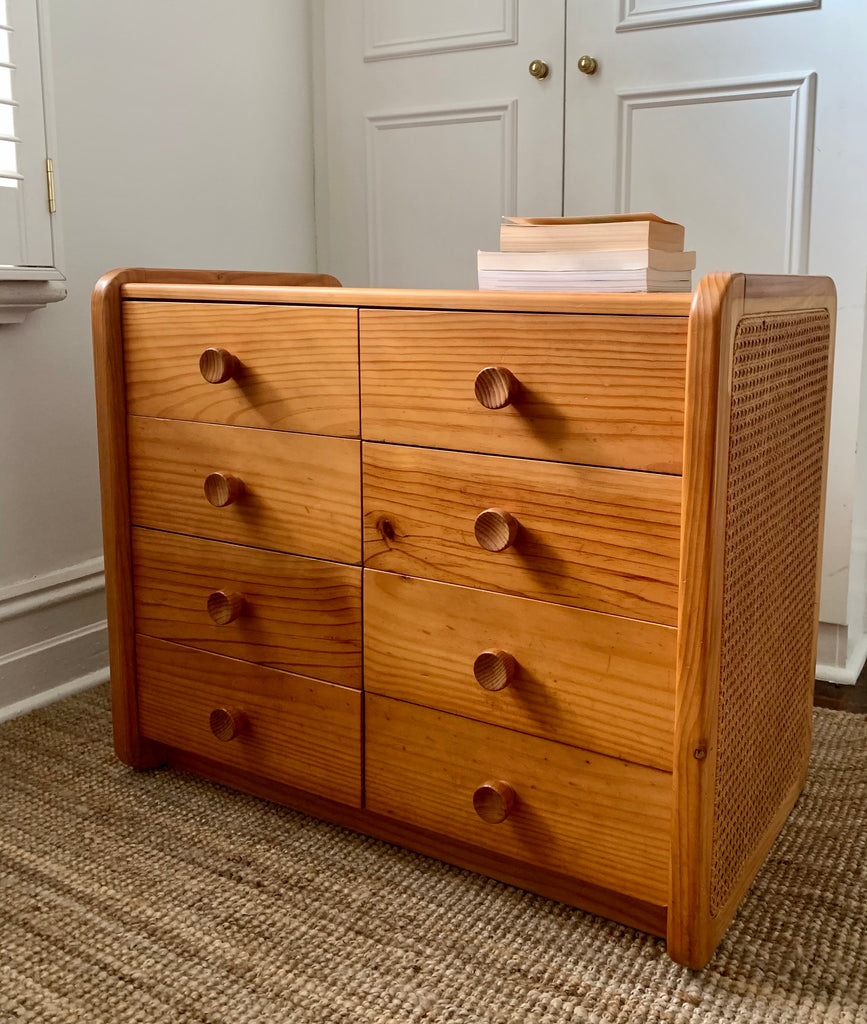 Rattan and Pine Chest of Drawers / Dresser