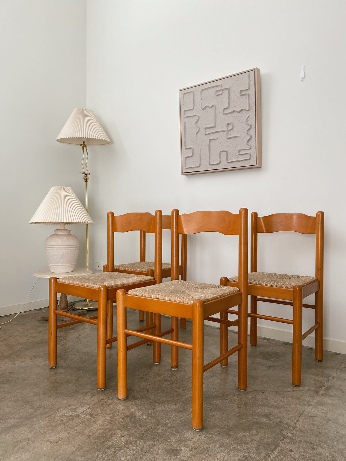 Timber Woven Rush Chairs x4