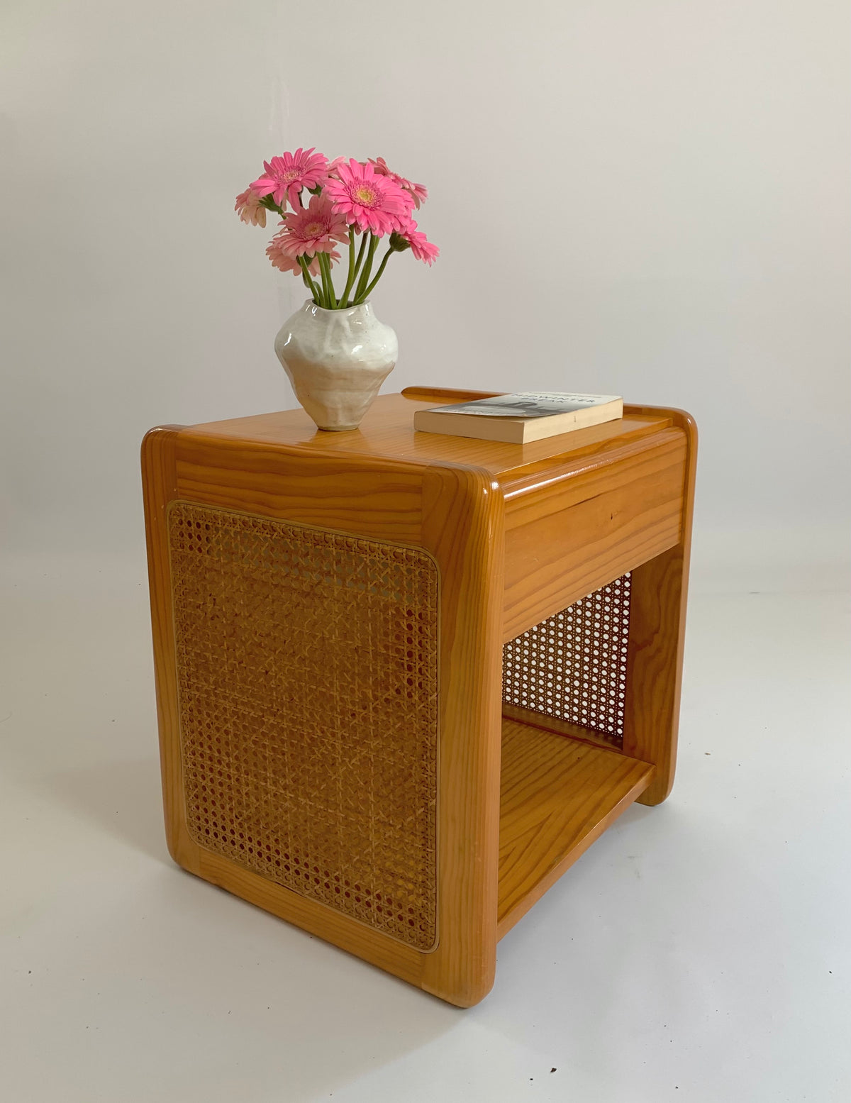 Vintage Pine and Rattan Bedside Table