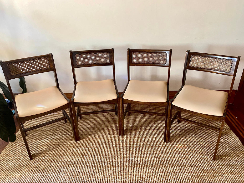 Sidex Dining Chairs with Rattan Backs (Set of 4)