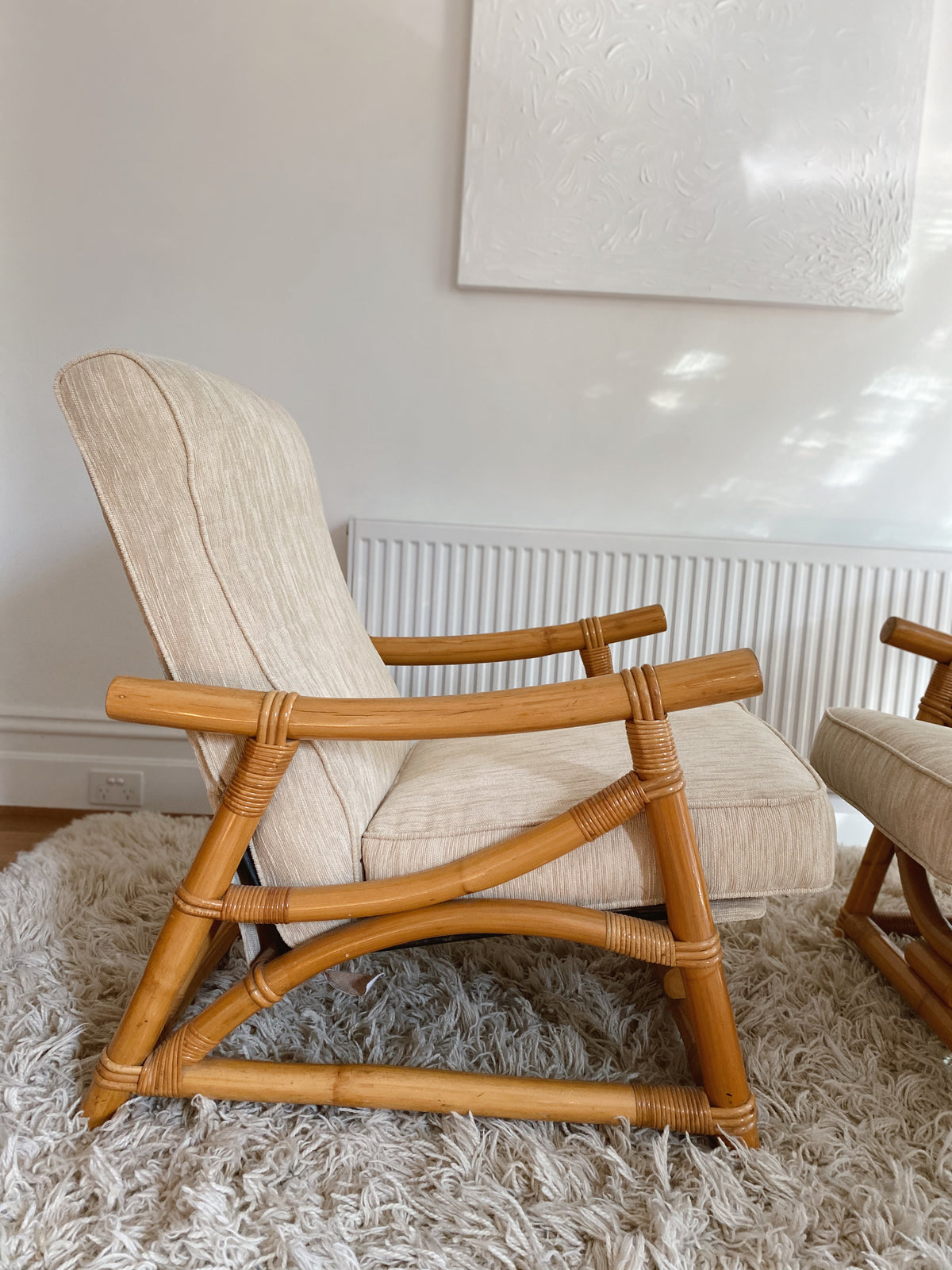 Corduroy and Bamboo Reclining Armchair