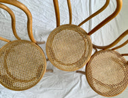 Bentwood Rattan Dining Chairs - Set of Six