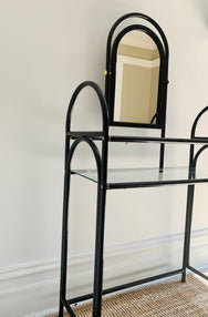 Glossy Black Dressing Table With Stool
