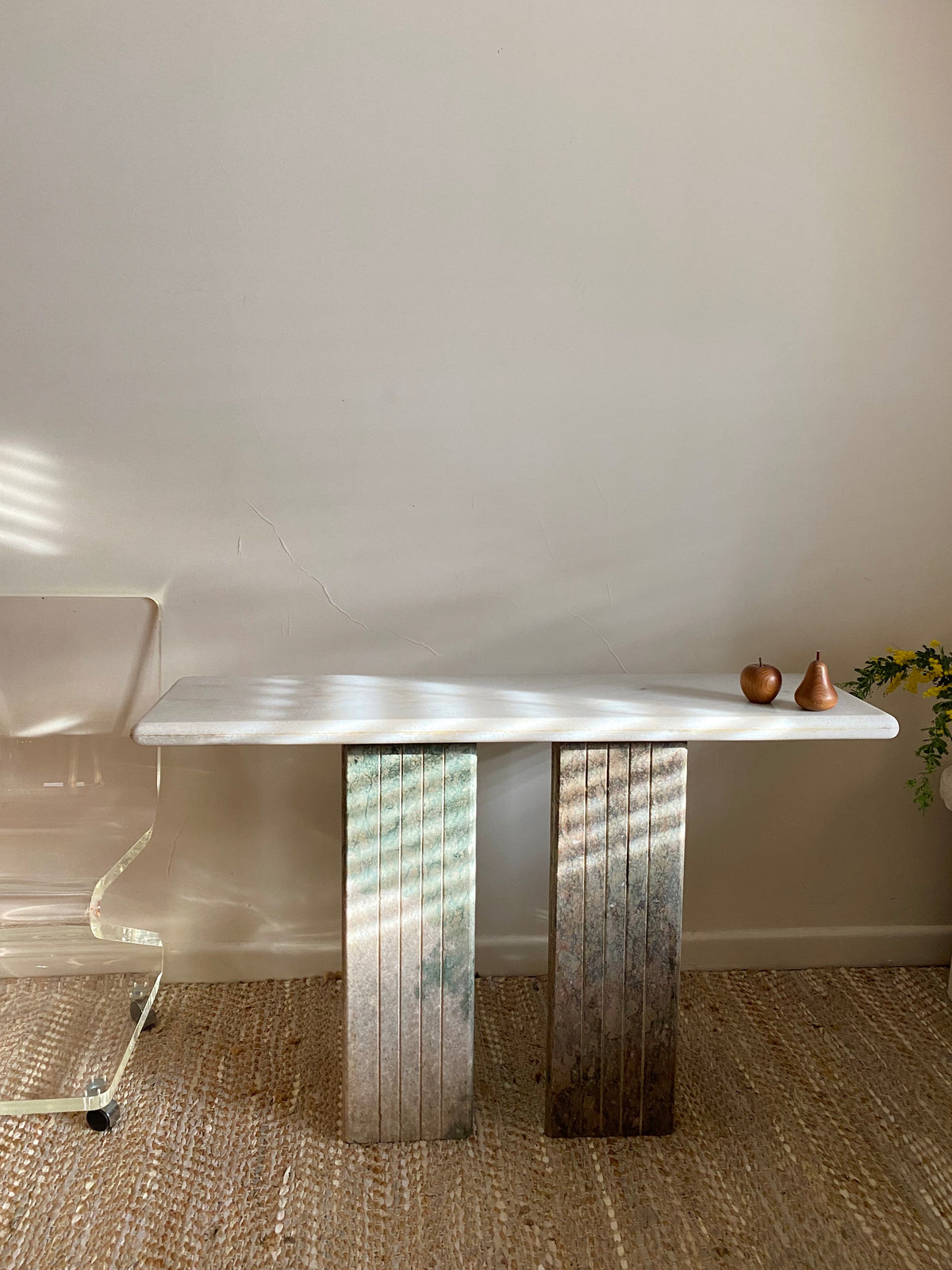 White & Green Marble Hall Table / Desk