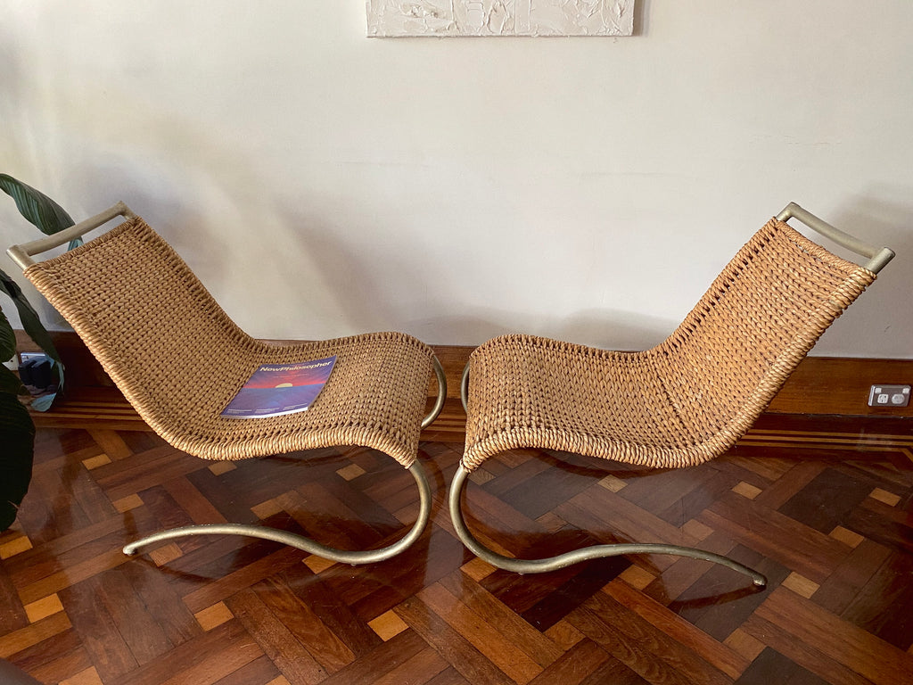 Rattan Lounge Chairs with Squiggle Legs