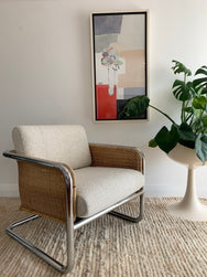 Incredible Vintage Cane, Chrome and Boucle Armchair