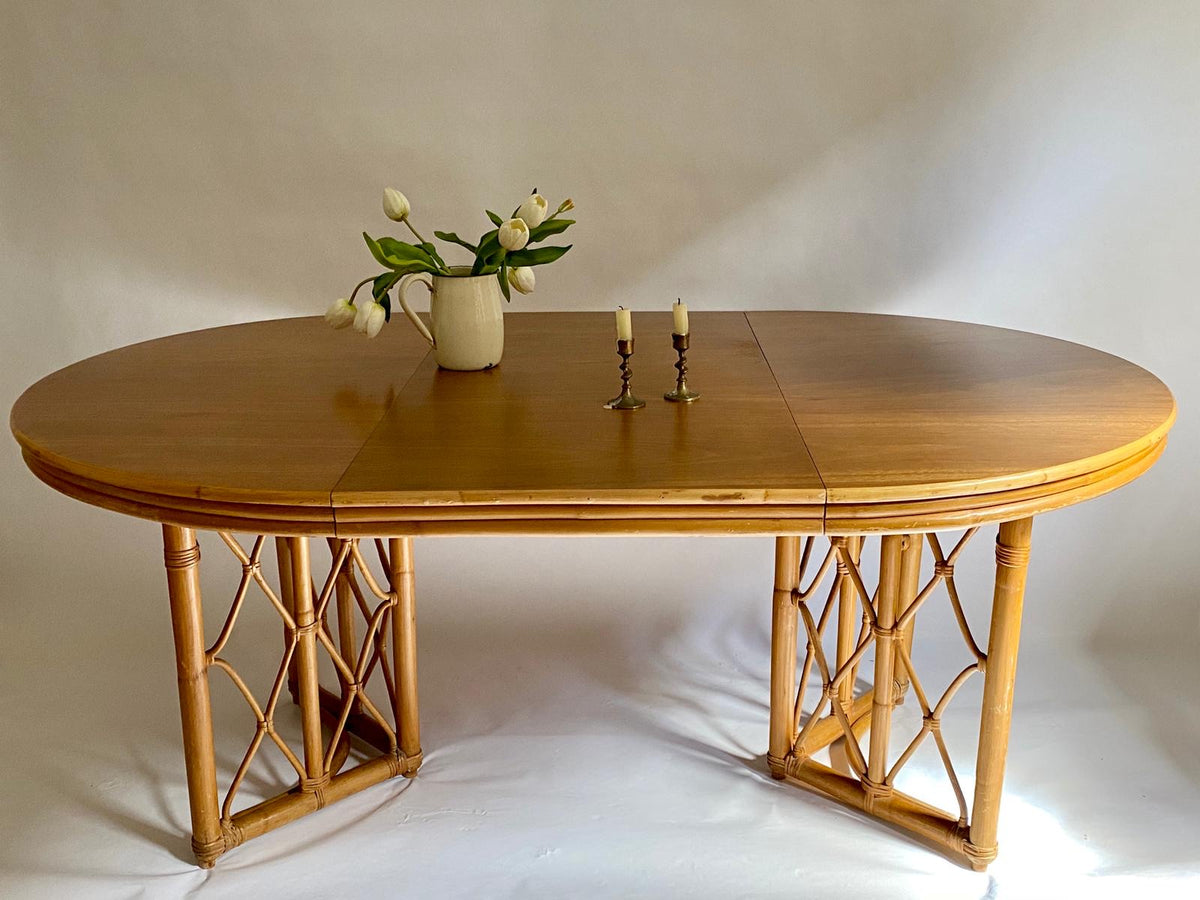 Extendable Bamboo and Wood Dining Table