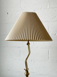 Brass Floor Lamp with Pleated Shade