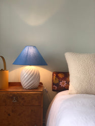 Glossy ceramic lamp with periwinkle shade