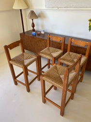 Vintage Timber & Woven Kitchen Stools